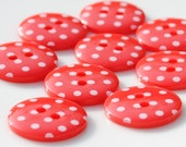 10 Red Spotty Buttons - Medium - 18mm