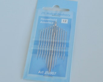 Household Needles - pack of 12 - various sizes