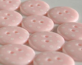 Pastel Pink Spotty Buttons - 4 sizes