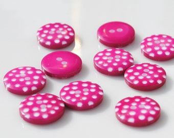 Hot Pink Polka Dot Buttons - 10 buttons (12mm)