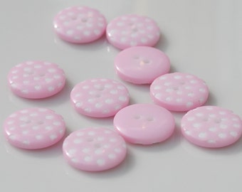 Pale Pink Polka Dot Buttons - 10 buttons (12mm)