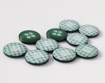 Green Gingham Buttons - 10 buttons (12mm)