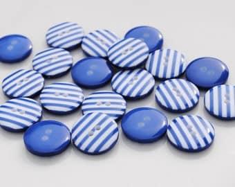 10 Blue Stripy Buttons (12mm)