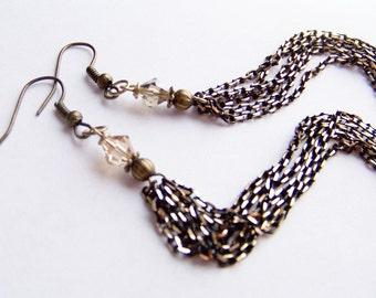 Antique Brass Chain Earrings