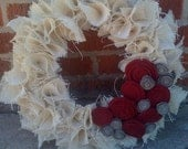Custom Shabby Burlap Wreath with Rosette Flowers / Can Customize With Any Flower Colors