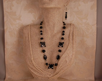 Jet Black Glass Wrapped in Silver Necklace