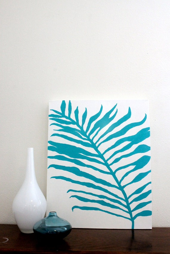 SALE Palm Branch Dos -- Original Acrylic Painting on 16x20 Canvas