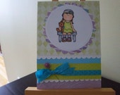 Any Occasion card 5 X 7  Little Girl With Bear