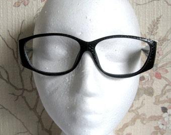 Vintage Christian Dior 80s Eye Glasses Frame Black Snake Pattern Spectacles 1980s Designer Eyewear Includes Dior Case