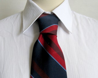 Vintage 1950s Schiaparelli Tie Navy Blue Red Diagonal Stripe 50s Mens Necktie