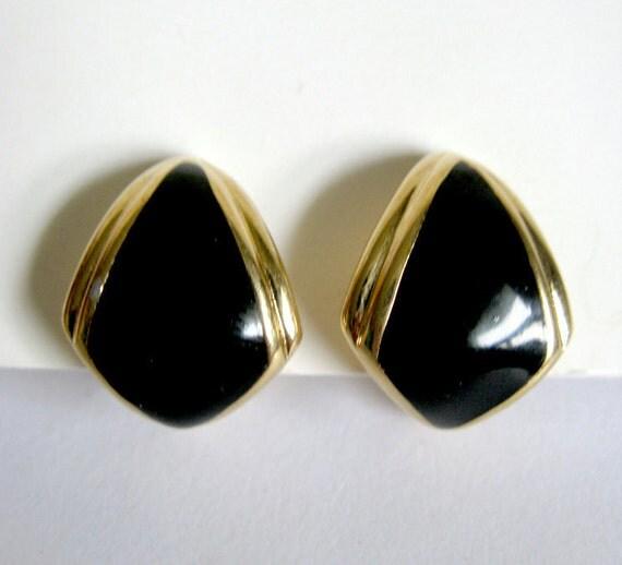 Monet Vintage Black Enamel Triangle Clip On Earrings