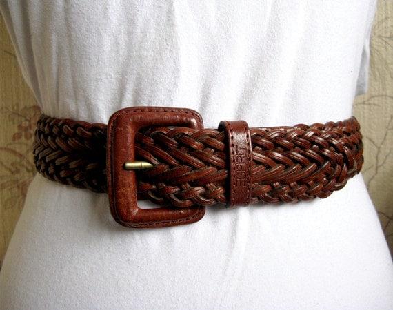 Esprit Vintage 1980s Weave Russet Leather Mens Belt