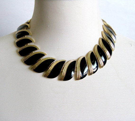 RESERVED FOR  Brigida Butler Black Enamel Gold Tone Choker Necklace FAC Fifth Avenue Collection