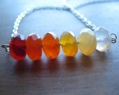 Faceted Orange Carnelian Stone Rainbow and Silver Chain Necklace
