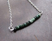 Tiny Green Emerald Stone and Silver Chain Necklace