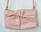 Antique pink leather/vinyl purse with bow and snakeskin accent
