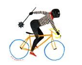 crash mayhem bicycle .  Doom Division . print