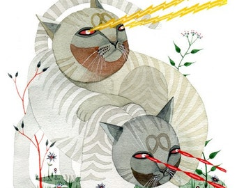 laser cats . print
