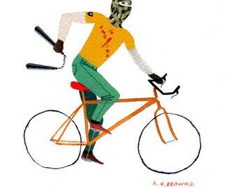MW chucks bicycle .  Doom Division . print