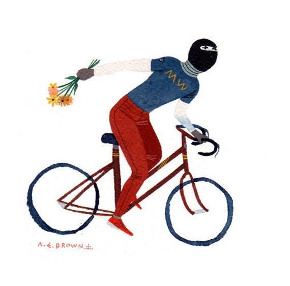 MW posies bicycle .  Doom Division . print