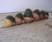 Felted wool acorns, set of 6, dark forest green