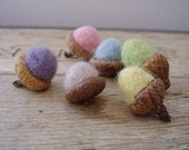 Felted wool acorns, set of 6, pastel rainbow no.1