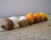 Felted wool acorns, set of 6, halloween candy corn