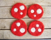 Felted wool mushroom coasters, Red amanita muscaria mushroom caps, set of 4, crochet coasters, red felt coasters, gifts for mushroom hunters