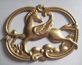 Vintage Pegasus Stamping, Art Deco Style Greek Mythical Winged Horse, Unplated Brass Pendant Jewelry Finding, Emellishment, 60x45mm, 1 pc.