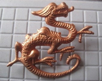 Vintage Dragon Stamping, Mythical Fantasy Creature, Copper Plated Steel, Fabric Trim, Leather Embellishment, Jewelry Finding, 36x28mm, 1 pc.