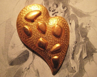 Vintage Brass Stamping, 1960s Mod Design, Abstract Heart or Leaf, Jewelry Finding, Decorative Trim or Altered Art Supply, 72x48mm, 1 pc.