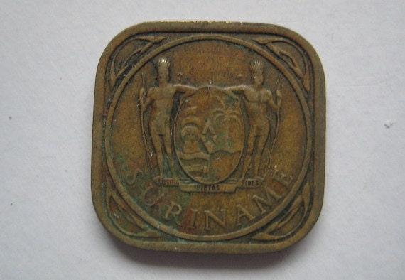 1962 Suriname Square 5 Cent Coin Juliana