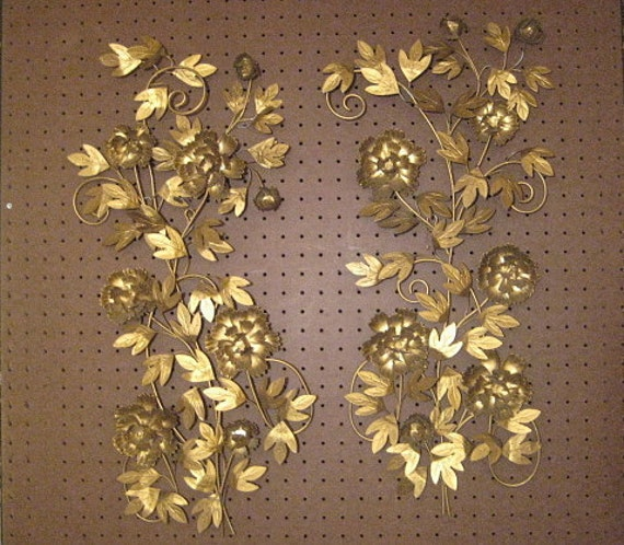 1 Pair Vintage Mid Century Gold Metal Floral Wall Art, Wall Hangings