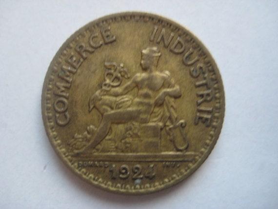 Birthday sale 1924 french coin bon pour 1 francs by for Bon pour 1 franc chambre de commerce