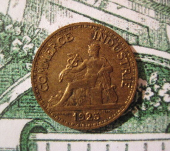 1925 French Coin, Bon Pour, 50 Centimes, Chamber of Commerce