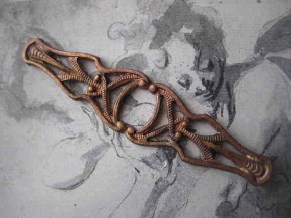 Older Vintage Open Work Brass Bar Pin Finding, Topper