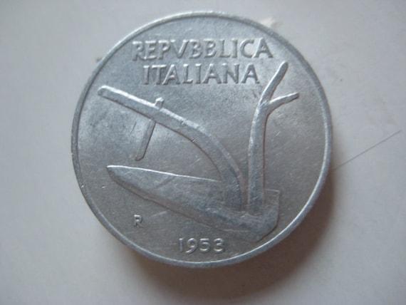 1953 Italy 10 Lire Aluminium Coin