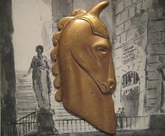 1 Vintage Art Deco Heavy Stamped Brass Horse Head