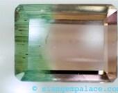 TOURMALINE BI color Green and Pink. Cut In USA 1Piece. Emerald Cut. 7x5.5mm 1.45ct (ref.tm250)