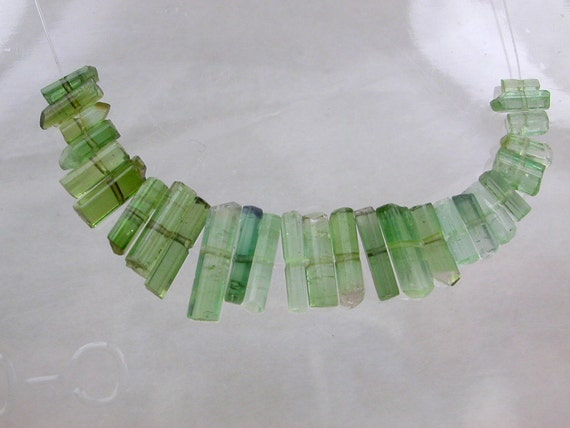 GreeN TOURMALINE Crystal  Beads. Facet Quality Multi-color (ref.tmb16)
