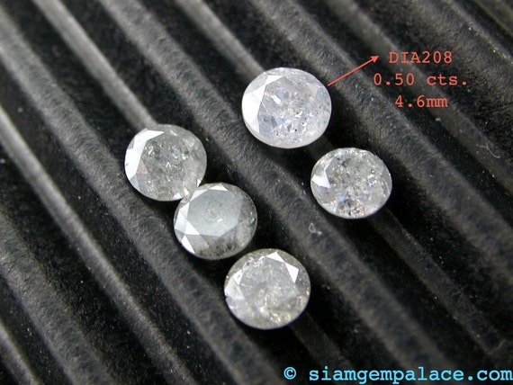 NATURAL DIAMOND. Silver. Round Brilliant Cut. 0.50 cts. Natural and Untreated (DIA208)