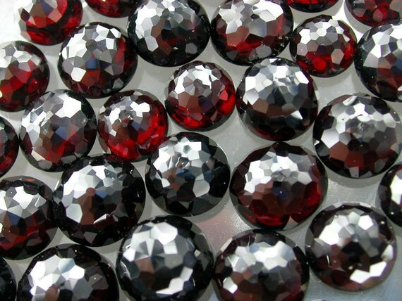 Garnet. Half Drilled EARring Studs.  Micro Facet Top Cabochon.Beautiful Rich Red. Round. 8 MM. 2 pc. matching (Ga130HD)
