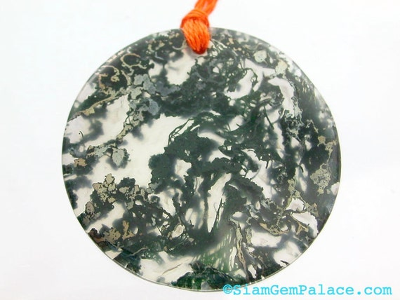 PrIcEd To CeLL Moss Agate. Translucent Agate 1 pcs Green Moss SOOOO Nice  Pendant / Focal Beads. 33mm width. (AG208)