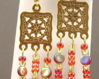 Red & Gold Glass Earrings