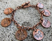 Doctor Who Penny Charm Bracelet - 7 timey wimey Hand Stamped  pennies  -Made to Order-