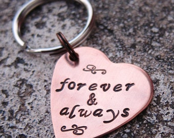 "Valentine's 1"" Copper Heart keychain - Forever and Always  -Made to order-"