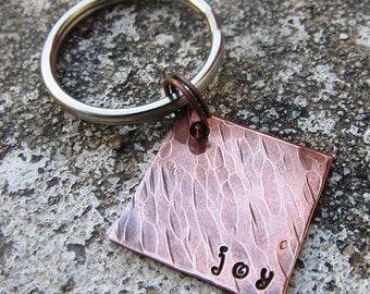 "Joy - Textured Hand Stamped 3/4"" Square keychain"