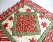 Christmas Quilted Table Topper Runner Candle Mat Red Green Ivory