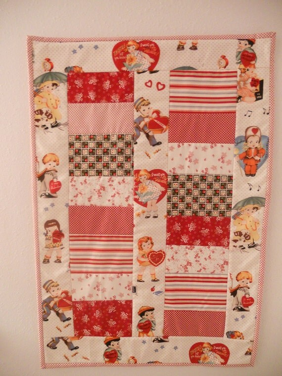 Valentine Quilted Table Runner Wall Hanging Reproduction Vintage Theme Retro