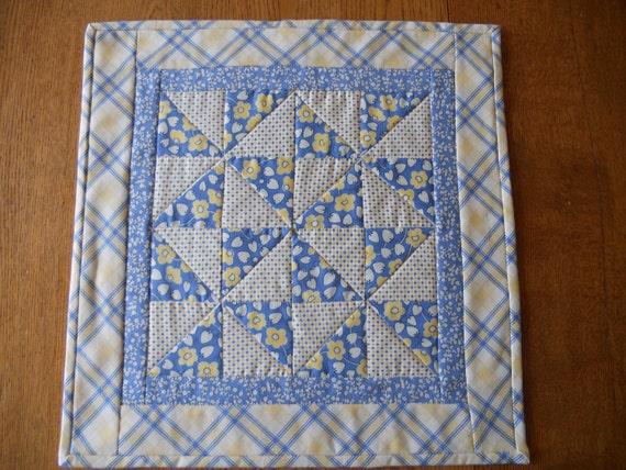 Cottage Chic Quilted Table Topper Pinwheels Blue and Yellow